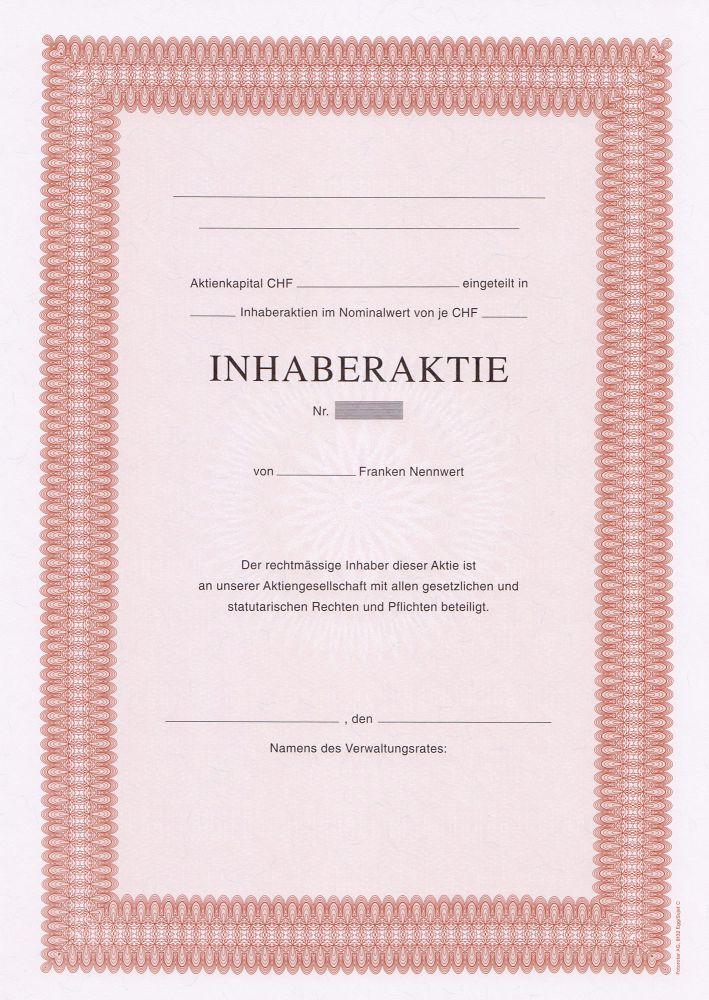 Baroque Rouge A4 Avec Texte 1 Côté 100704 Inhaberaktien Papier